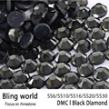 Mixed Size Glitter Flatback Loose DMC Black Hot Fix Rhinestones apply to Evening Dresses&Women shoes Decor