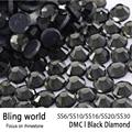 Tamaño mezclado Glitter Rhinestones Calientes del Arreglo DMC Del Flatback Sueltos Negro se aplica a Vestidos de Noche y zapatos de Las Mujeres Decoración