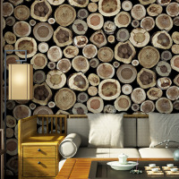 Village Retro Pastoral Style Creative Stump Design Nonwovens Wall Sticker Bedroom Living Room TV Background Wallpaper