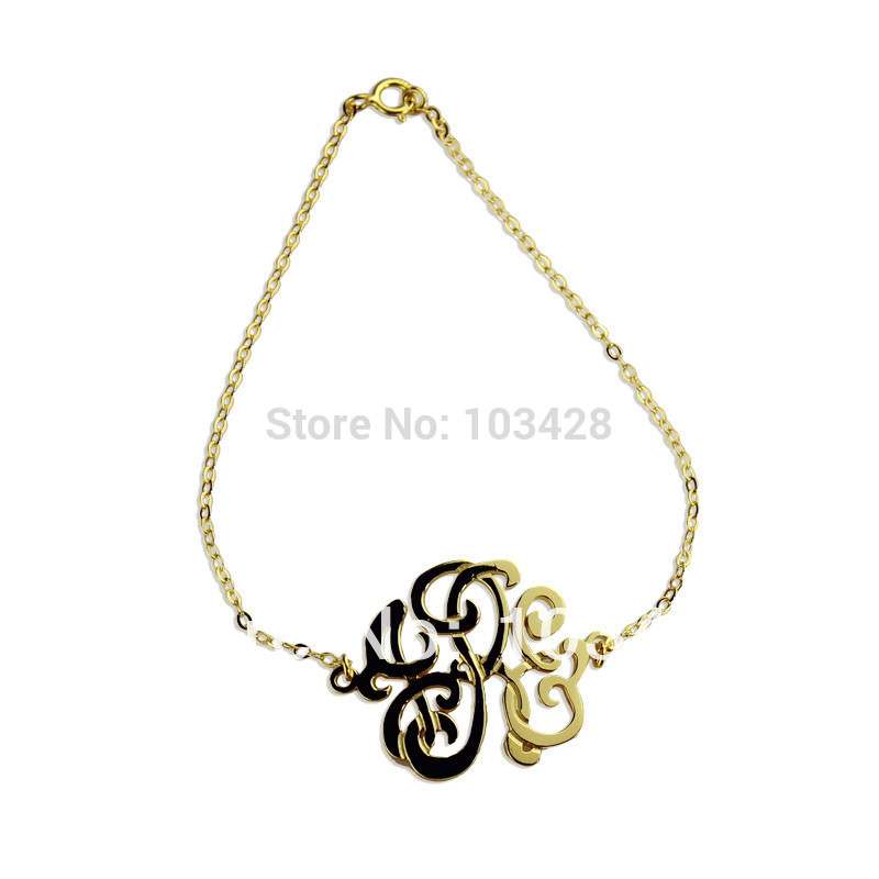 AILIN Personalized Monogram Bracelet Gold Color Custom Monogrammed Name Stereoscopic 1.25 Inch Hand painted 3 Initials Bracelet цена