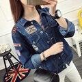 Mujeres básica abrigos de primavera otoño chaqueta de mezclilla de las mujeres bf 2017 vintage de manga larga femenina floja vaqueros ocasional de la capa outwear e495