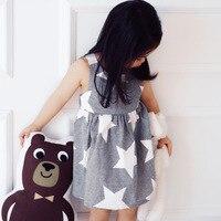 New Summer Girls Dress Stars Pattern Princess Dresses Thin Stripe Sleeveless Dress Children Clothing Kids Lovely