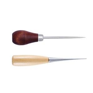 Image 5 - Lmdz 2 個木製ハンドルawls diyキャンバスレザーテント縫製キリピンパンチ穴の靴修理ツール手綴じ革クラフト針