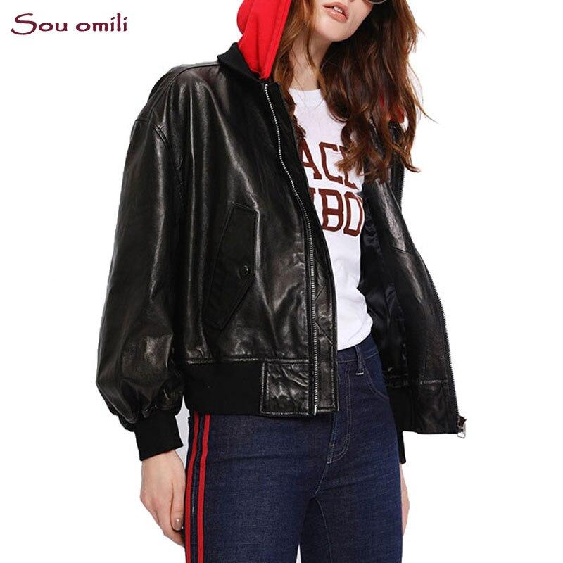 Royaume-Uni disponibilité ce9ec 28816 € 27.51 50% de réduction Nouveau sweat à capuche Baseball similicuir noir  blanc tenue femmes Faux cuir souple vestes Pu Blazer Zip manteau uniforme  ...