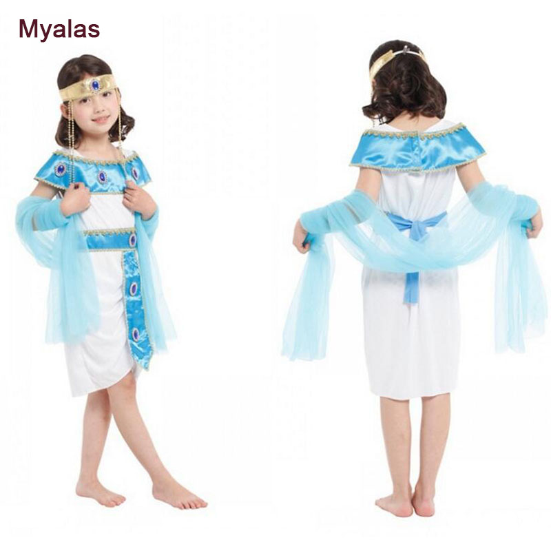 Children's Egyptian Queen Dress Flower Dress Girl Princess Skirt Halloween Costume for Kids Role Play Cosplay Costume