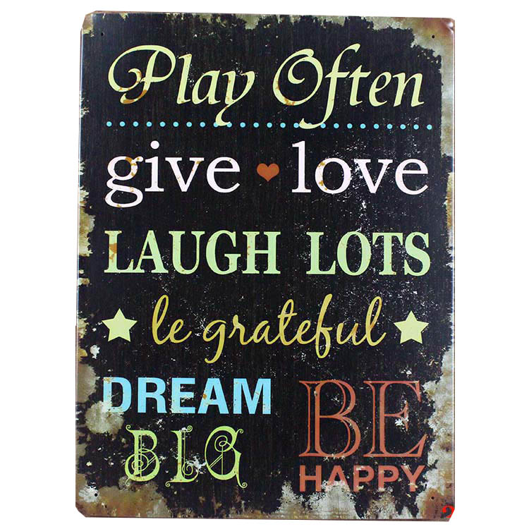 vintage home decor sign rimless adornment metal painting rimless sign plastic bar retro letter give love dream play often