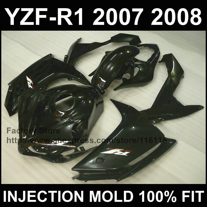 Custom free motorcycle injection ABS fairings kit for YAMAHA 2007 2008 YZF R1 YZFR1 07 08 full black fairing bodywork+tank cover for yamaha yzf 1000 r1 2007 2008 yzf1000r inject abs plastic motorcycle fairing kit yzfr1 07 08 yzf1000r1 yzf 1000r cb02