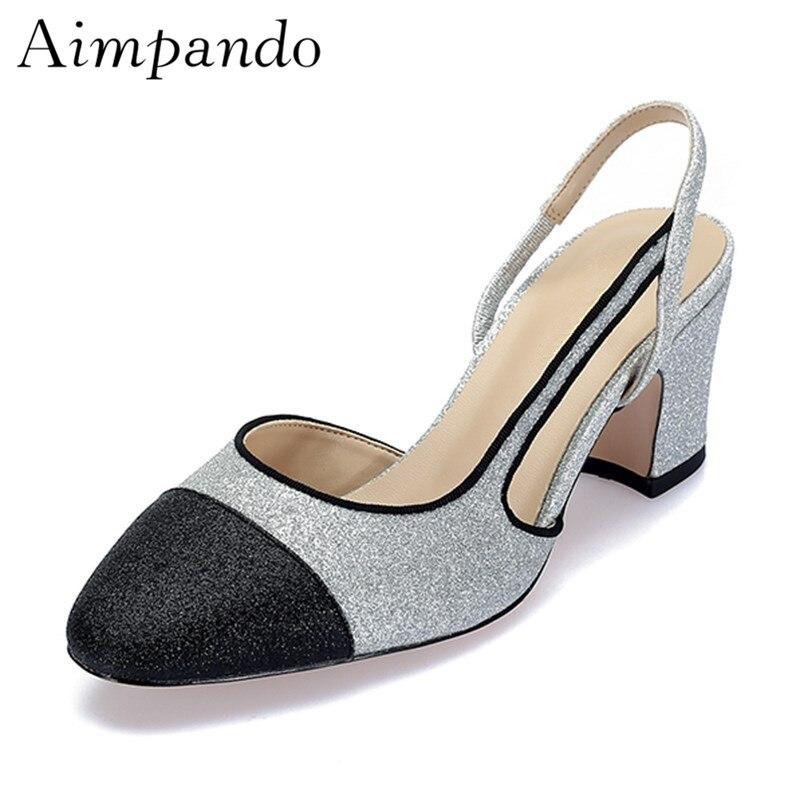 grey silver Sangle Sandales Cut Black Arrière Patchwork Talons Femmes Out Glitter Peu Side Haute Paillettes Profonde Classique Bling oCdexB