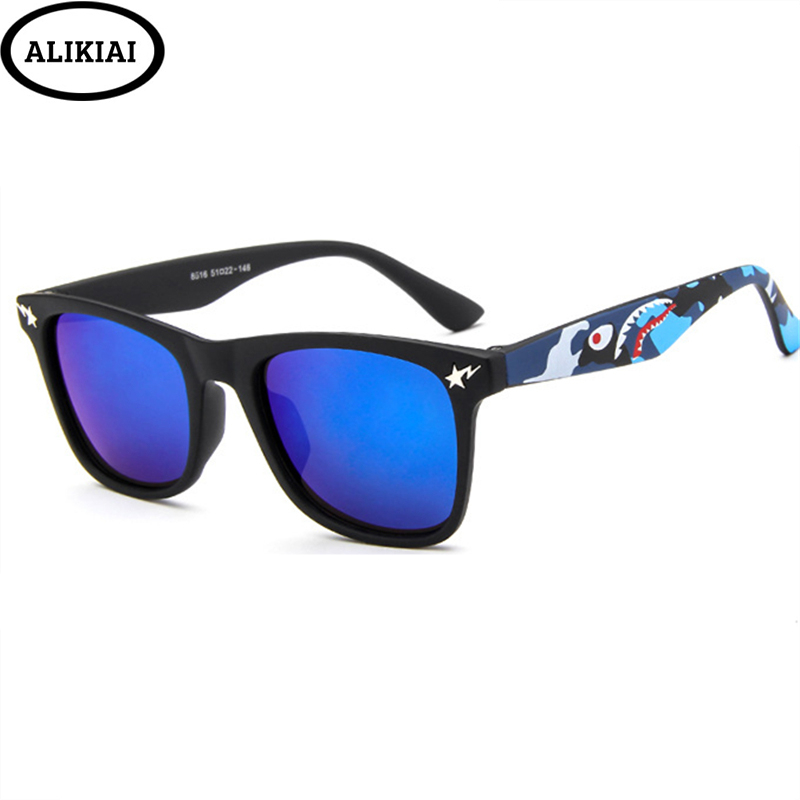 ALIKIAI New 2019 Kids  Sunglasses Small Shark Colorful Boys and Girls High Definition Square Sunglasses UV400(China)