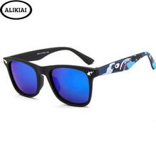 Alikiai novo 2020 crianças óculos de sol pequeno tubarão colorido meninos e meninas alta definição quadrados uv400