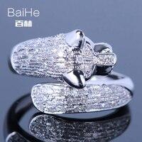 BAIHE стерлингового серебра 925 0.9CT Certified H/SI круглый из натуральной бриллиантами и черные бриллианты Для женщин Мода Fine Jewelry кольцо