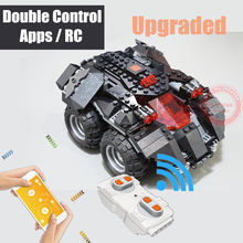 New Power up App-controlado batman Superheroes fit legoings technic Motor Batmobile Tijolos de Blocos de Construção do carro brinquedos Presente do miúdo(China)