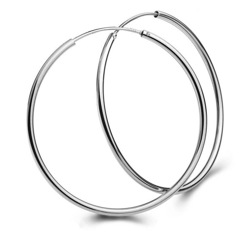 Real !!! S925 STERLING SILVER CIRCLE ROUND HOOP EARRINGS OUT DIAMETER 3CM/30MM FINE GOOD JEWELRY FOR MAN WOMAN BOYS GIRLS
