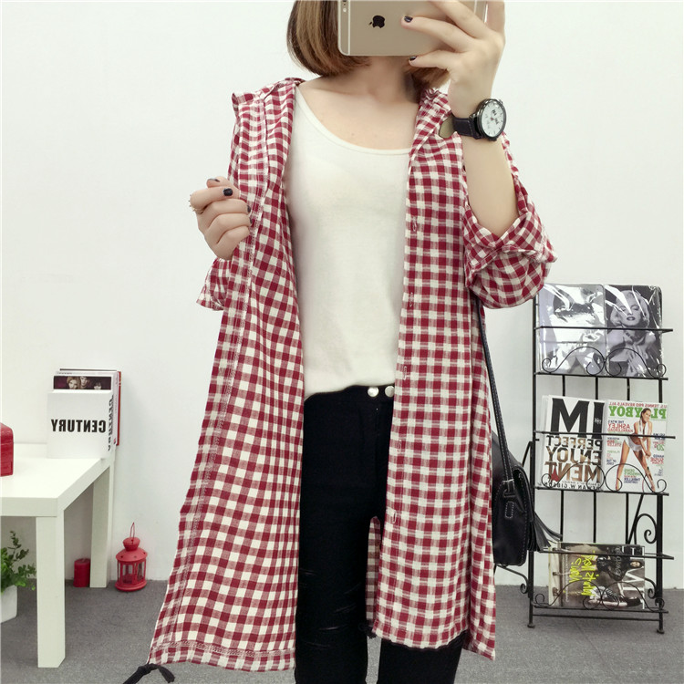 Brand Yan Qing Huan 2018 Spring Long Paragraph Large Size Plaid Shirt Fashion New Women's Casual Loose Long-sleeved Blouse Shirt 9
