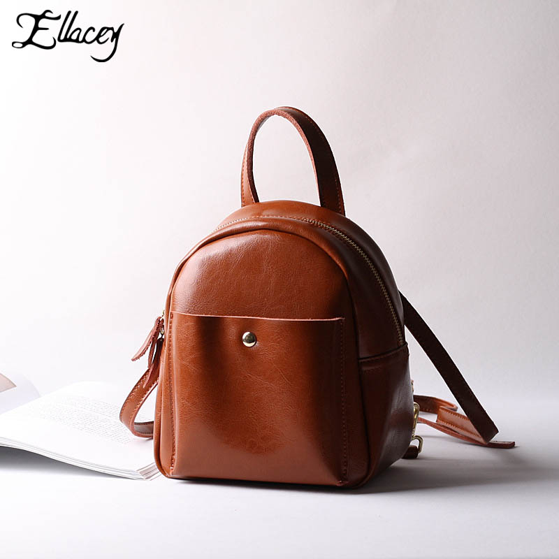 New 2017 Classic Women Backpack Bag Preppy Style School Bags Mini Genuine Leather Backpacks Leisure Small Travel Bag women s classic backpack
