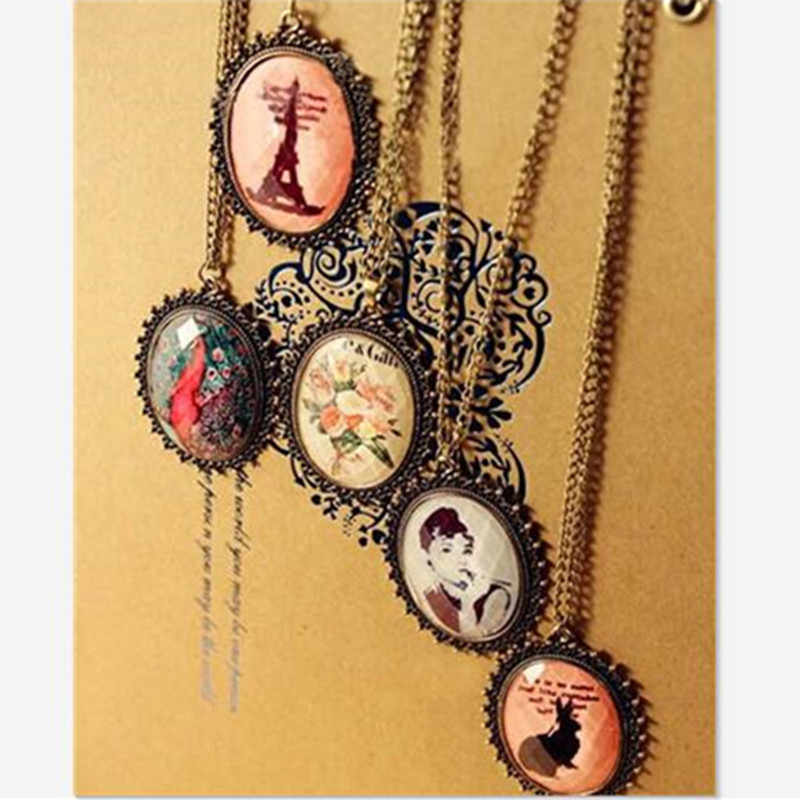 New Fashion Vintage Retro Long Oval Beauty Models Sweater Chain Women Necklace Jewelry ND246
