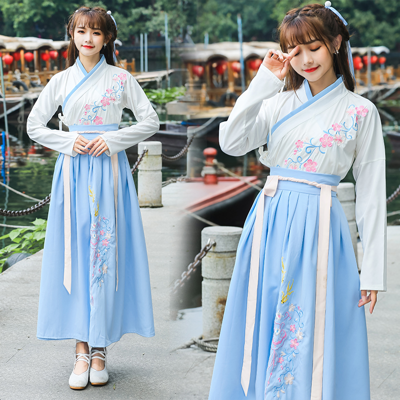 Improved Hanfu Dress Summer Chinese Style Student Ancient Dress Fairy Elegant Dance Costume Tang Dynasty Folk Princess Dresses