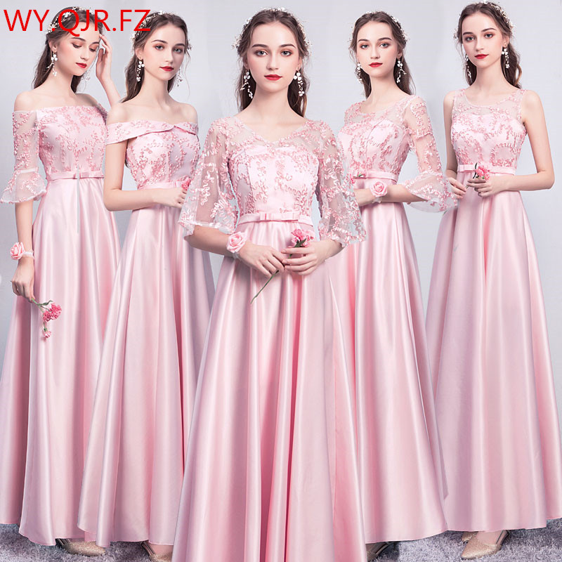 ASL-CK#Boat Neck Lace up Gary pink long twill satin   Evening     Dresses   Christmas Graduation party   dress   gown prom women wholesale