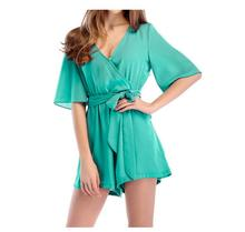 Summer Candy Color Chiffon Middle  Sleeve Playsuit Sexy V-neck loose Waist Belted Jumpsuit Plus Size Women Romper Short S M L XL plus shawl collar belted plaid romper