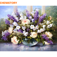Chenistory Romantische Bloem Diy Digitale Olieverfschilderij Van Nummers Kit Acryl Schilderen Op Canvas Home Decor Trouwzaal Decoratie