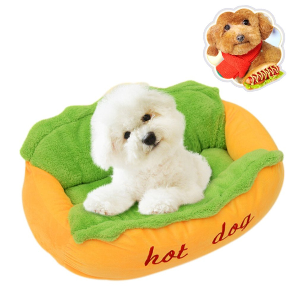Funny Soft Pet Sleeping Bed Nest Kennel Cushion Cute Puppy Dog Beds Hot Dog Shape Warm Cat Sofa Mat Pets Supplies S/L Size