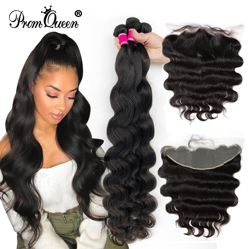 Promqueen 28 30 40 Inch Brazilian Hair Body Wave Weave 3/4 Bundles With 13x4 Lace Frontal Closure Remy Human Hair Free Shipping