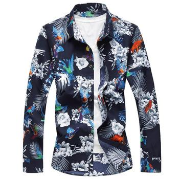 Long sleeves Mens Dress Shirts Floral Fashion Hawaiian Shirt Male Camiseta Fashion Flower Blouse Men Summer hawaiian shirt men camisa social flower summer long sleeve new model shirts mens floral blouse men clothing