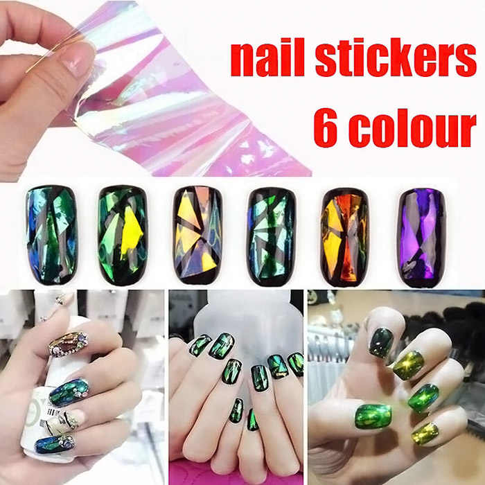 1/6Pcs Paper Women's DIY 3D Nail Art Stickers Accessories Mirror Chrome Effect For Shining Magic Nails Glitter Crystal  SMJ