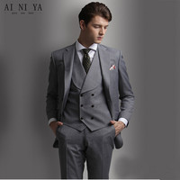 New Men's suits Men Suits Slim Fit Grey Groom Tuxedos Mens Suits 3 Pieces Tailored Wedding Suit