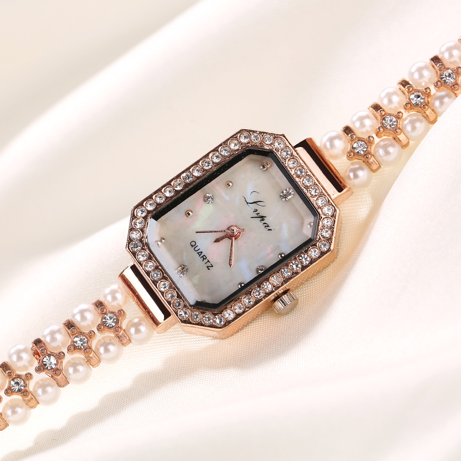 Luxury Rose Gold Pearl Rhinestone Bracelet Watch Women Ladies Crystal Dress Quartz Wrist Watches Relojes Mujer in Women 39 s Watches from Watches