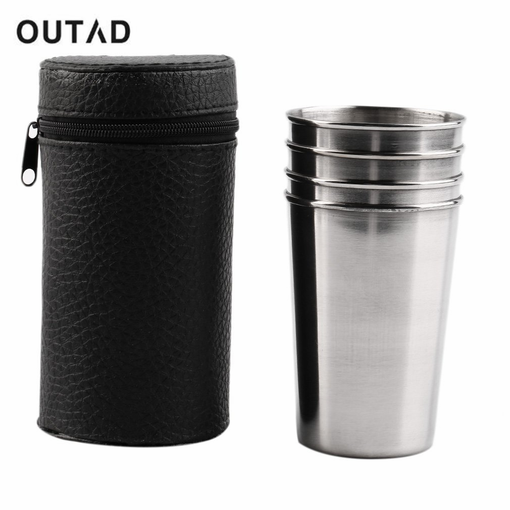 OUTAD 4pc Outdoor Camping Hiking Stainless Steel Silver Cup Mug Drinking water bottle Picnic Coffee cup set drinkware Cover Case-in Outdoor Tools from Sports & Entertainment