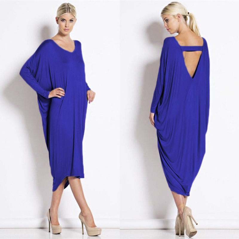 Ladies Bat Long <font><b>Sleeve</b></font> Loose Irregular <font><b>Dress</b></font> Fall <font><b>Winter</b></font> New Women <font><b>Casual</b></font> Vestido Evening Party Bodycon <font><b>Sexy</b></font> <font><b>Dress</b></font> image
