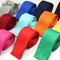 Novos Homens de Tricô Sólidos magro gravatas Mans Laços Gravatas de poliéster Moda Xadrez Clássico Primavera casual laços tecidos