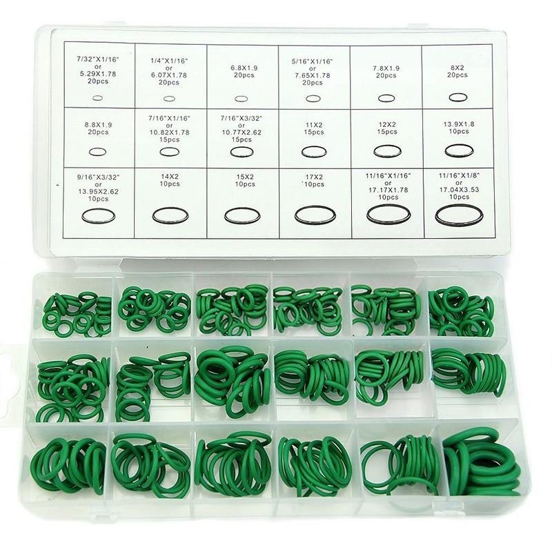 Mayitr 270pcs/Set 18 Sizes Rubber O Ring Seal Car Auto Air Conditioning Repair HNBR O-Ring Seal Kit Green