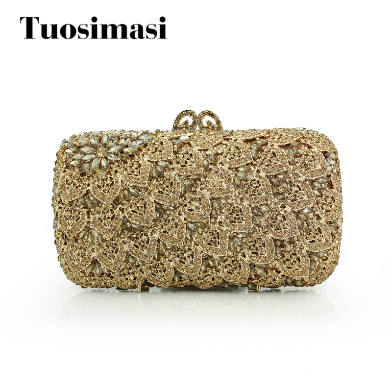 gold crystal clutch bag women handbag bags brand evening flower pattern chain bag(88169A-GC) faux crystal mosaic clutch evening bag