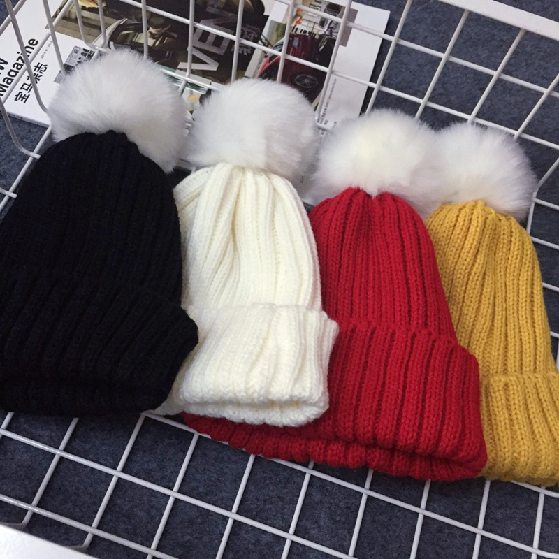 Gold Hands 2017 New Children Winter Hats Knit Solid Black Grey Rose White Pink Blue Warm Babies Kids Beanie Pom Pom Hat