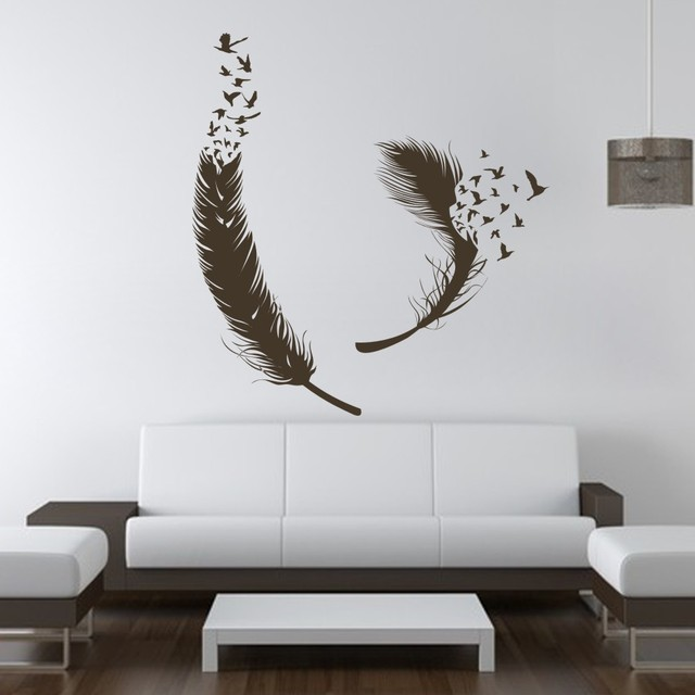 Birds of feather wall decals vinyl decal housewares art - Wall stickers camera da letto ...