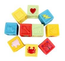 Bagged Soft Rubber Blocks 10Pcs /set Baby Blocks Toys Non-toxic Soft Plastic Cartoon Cube Building Blocks Baby Educational Toy недорого