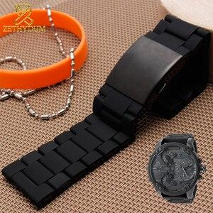 Image 2 - Impermeabile braccialetto in silicone per i diesel watch band 28 millimetri DZ7396 DZ7370 DZ428 gomma e cinturino in acciaio inox mens cinturino