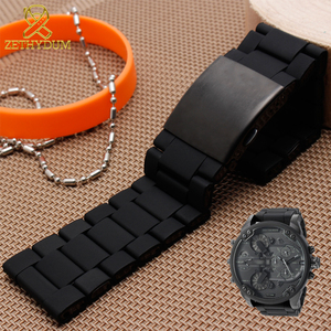 Image 2 - Waterproof silicone bracelet for diesel watch band 28mm DZ7396 DZ7370 DZ428 rubber and stainless steel watchband mens strap