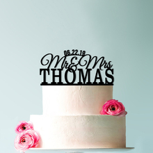 Surname cake topper, Mr and Mrs topper with date, Custom wedding Personalized wood