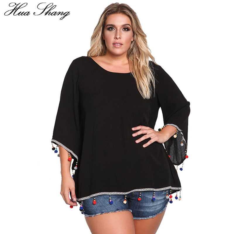 2c1cfa28ff2 Женская летняя модная туника блузка элегантная расклешенная рукав  крест-накрест сзади черный белый пляжные женские