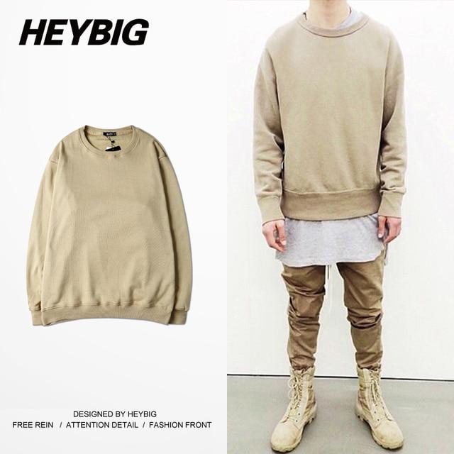 Khaki round neck Hoodies 2016 new European Fashion Men Fleece Sweatshirts HEYBIG hip hop High Streetwear Chinese Size Clothing