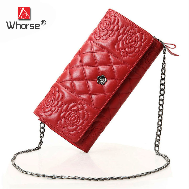 [WHORSE] Brand Quilted Chain Womens Messenger Bags Genuine Sheepskin Leather Women Small Shoulder Crossbody Bag Clutch W0420 fashion sheepskin mini women bag retro small fragrant bag chain diamond lattice small shoulder bags hasp women messenger bags