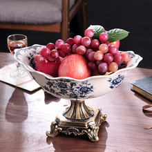 Ice Crack Ceramics American Country Fruit Plate Large Dry Ceramic Craft Home Decoration New Products Direct Sale