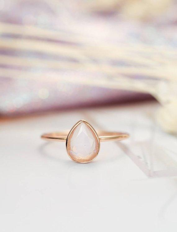 MYRAY груша Форма с натуральный лунный камень Обручение кольцо Твердые 14 К розовое золото Простой свадебный набор Юбилей подарок минималистс