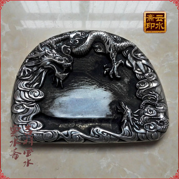 Disque Shuanglong en pierre à encre | Papeterie chinoise en argent fin Miao fait main en pierre à encre