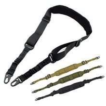 Tactische 2 Single Point Gun Sling Rifle Sling Outdoor Sport Bungee Strap Veiligheid Nylon Riem Touw met Metalen Haak Schouder band(China)
