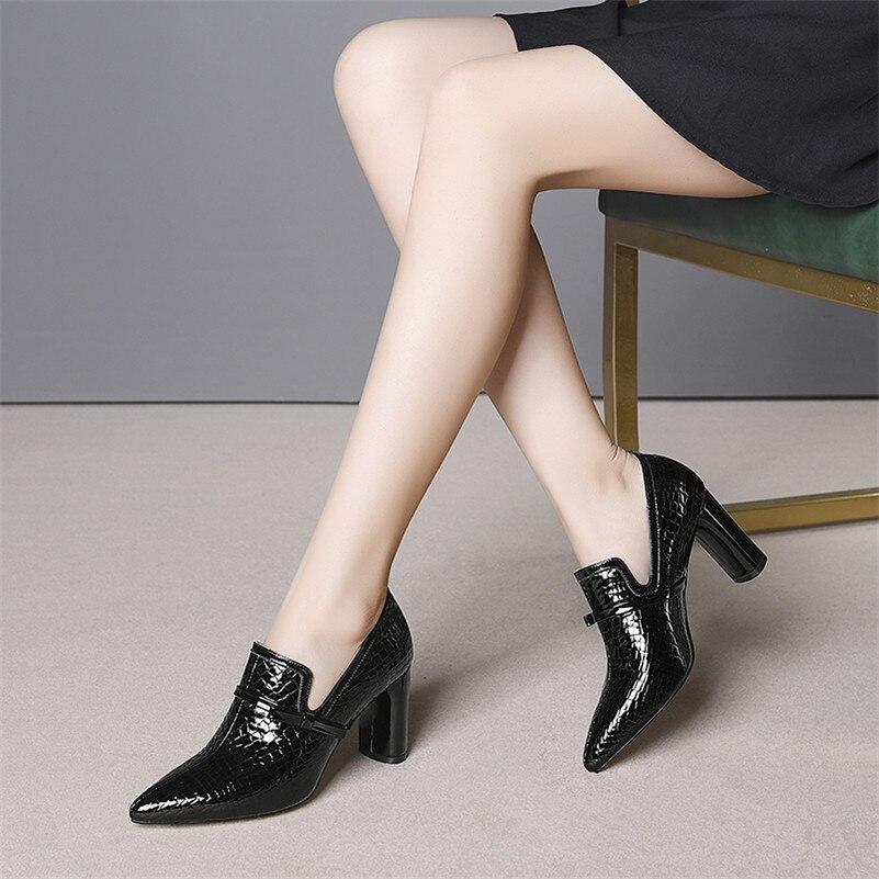FEDONAS Top qualité talons hauts en cuir véritable bout pointu chaussures de fête femme sans lacet printemps été marque bureau pompes chaussures - 6