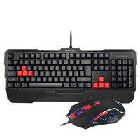Tecknet Кракен светодиодной подсветкой игровая клавиатура и мышь набор, водостойкая конструкция, макет США красный